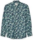 Goodthreads - Camisa de algodón de lino de manga larga y corte estándar para hombre, multicolor (Palm Frond), US XS (EU XS)