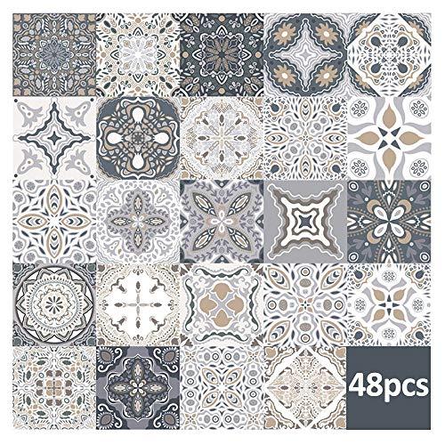 48 piezas pegatinas de azulejos de pared - calcomanías de azulejos para cocina sala de estar baño decoración para el hogar autoadhesivo