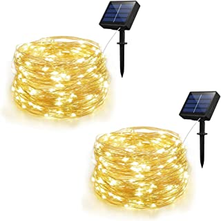 Syka Solar String Lights, 2 Pack Outdoor String Lights with 8 Modes 100 LEDs 33ft Silver Copper Wire, Waterproof Solar Powered Fairy Lights for Garden Gate Yard Patio Dancing Party Trees (Warm White)
