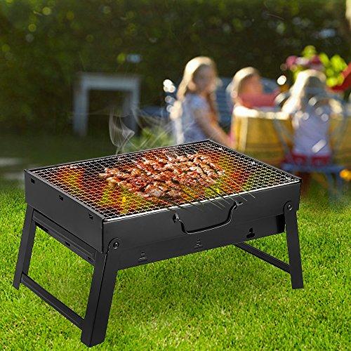 Holzkohlegrill Campinggrill Klein Klappbar Klappgrill Outdoor Gefalter Tragbarer Grill Barbecue aus Gusseisen, perfekt für Reise, Camping, 43.5 x 30 x 24 cm
