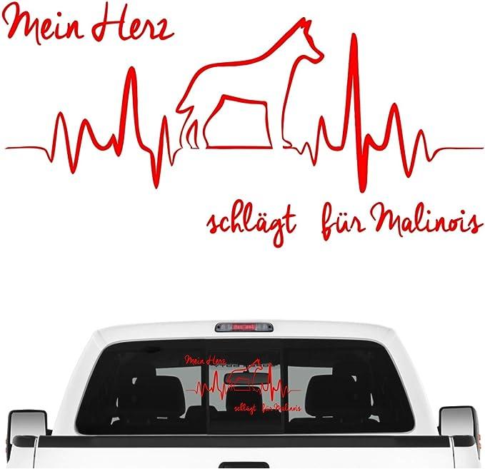 Siviwonder Malinois Belgian Mali Aufkleber Auto Herz Heartbeat Hundeaufkleber Hunde Folie Farbe Rot Größe 60cm Auto