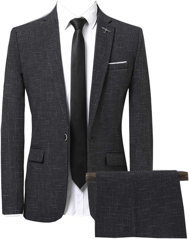 Men's Slim Fit Soldering One NEW Button 2-Piece Plaid Jacket Pants Suits