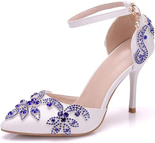 ZHRUI Bout Pointu Rhinstone pour Femmes clouté Satin Chaussures de soirée de Mariage (Couleuré   Ivory-9cm Heel, Taille   2 UK)
