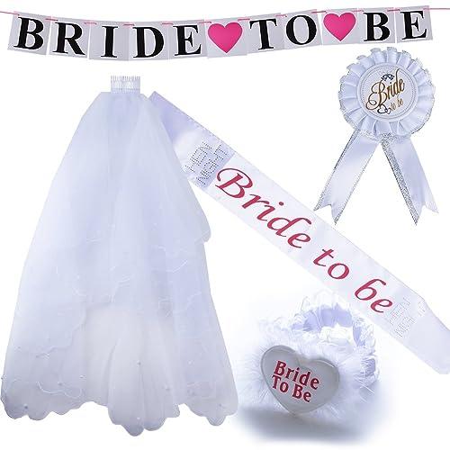 5pcs Velo de Novia + Bride to be Insignia Liga Banda Pancarta para Disfraces de Fiesta