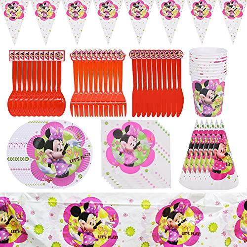 Hilloly Set de Fiesta de cumpleaños de Minnie Cumpleaños Vajilla Set de Fiesta Kids Birthday Mickey, Plato, Servilleta de Papel, Cuchillo, Tenedor, Taza, Mantel