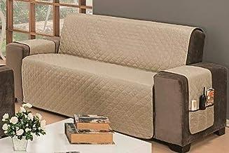 Protetor De Sofá Impermeável 3 Lugares King Liso Dupla Face Tecido Microfibra Kaqui/Marrom