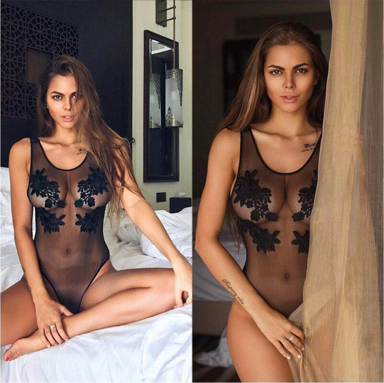 Gaowei Durchsichtiger, einteiliger Badeanzug aus Netzstoff, Besteickter Badeanzug für Damen, sexy, ungepolsterter Badeanzug, transparente Badebekleidung, schwarz