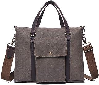 LIUFULING Mens' Retro Canvas Handbag Canvas Backpack Hiking Durable Crossbody Shoulder Bag (Color : Gray, Size : OneSize)