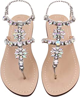 Women's Crystal with Rhinestone Bohemia Flip Flops Summer Beach T-Strap Flat Sandals