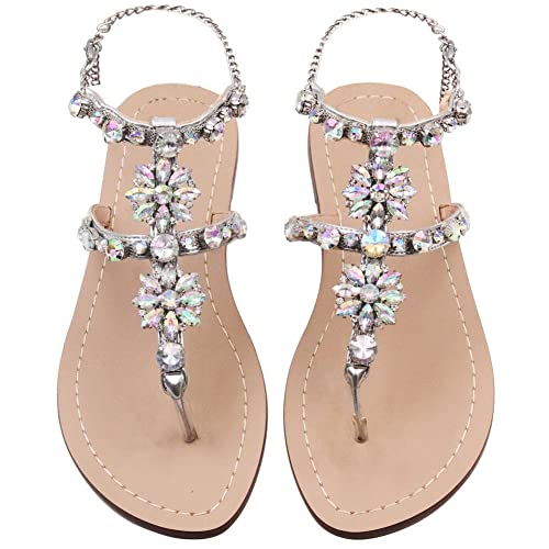 afa9a76d JF shoes Women's Crystal with Rhinestone Bohemia Flip Flops Summer Beach  T-Strap Flat Sandals