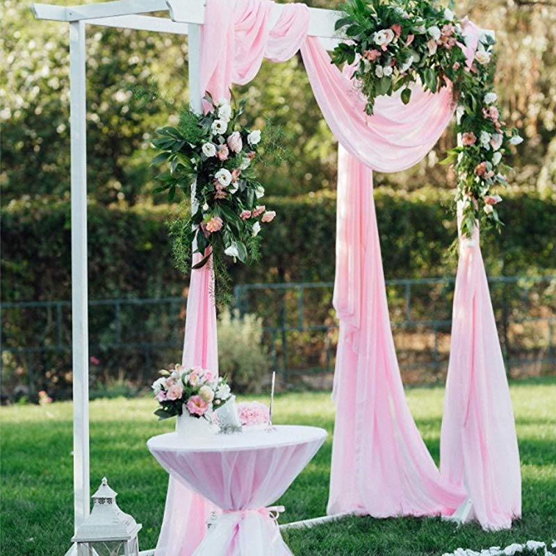 BIT FLY Sheer Scarf Organza Table Swags Wedding Decor For Birthday Party Home Table Runner 394 X 53 Inch Table Skirt Stair Bow Valance Backdrop Curtain Decoration Light Pink 1 Pack
