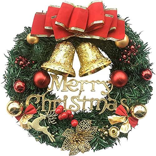 Huakaimaoyi Guirnalda de Navidad para colgar, guirnalda de Navidad con lazo, ramas naturales, bayas y conos de pino para decoración de puerta delantera (B)