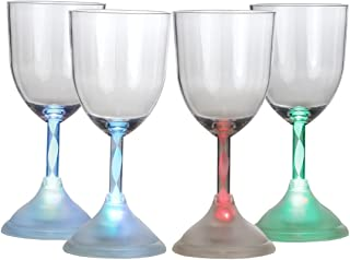Lily's Home LED Light Up Flashing Wine Cocktail Glasses. Color Changing. Set of 4.