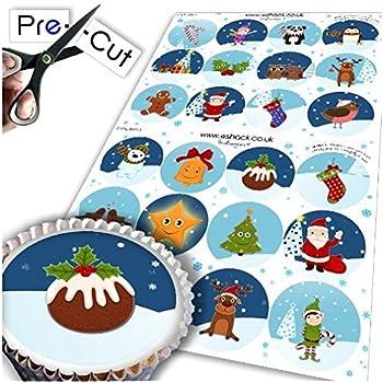 Cakeshop 12 X precortadas Muñeco de Nieve Navidad Comestible Cake Toppers