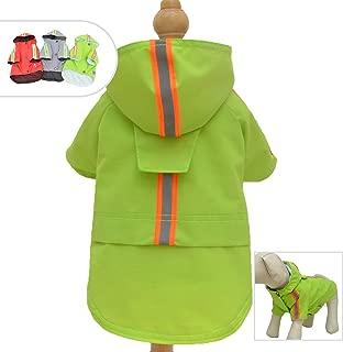 Lovelonglong Fashion Hooded Pet Dog Raincoat, Lightweight Dog Rain Jacket Zipper Closure Rain Poncho with Reflective Strip for Small Medium Large Dogs
