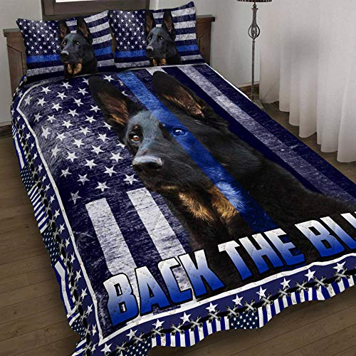 Quilt Bedding Set-Police Dog K9. German Shepherd. Back The Blue America Quilt Bed Set THB2555QS, Queen Size Coverlet for All Season-Soft Microfiber Bedspread+Pillows-Quilts Gifts (King,Queen,Twin)