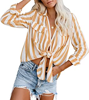 RXRXCOCO Women's Striped Long Sleeve Shirts Tie Knot Crop Top Casual Blouses Tops