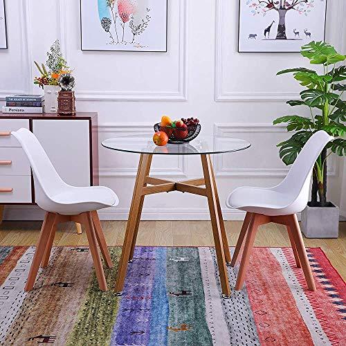Mesa de cristal circular y 2 sillas de cocina, moderno conjunto de mesa de cocina,A