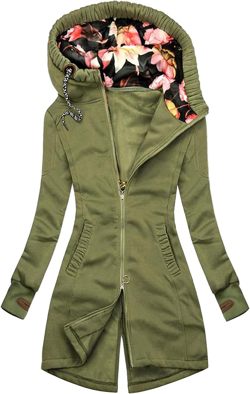 Hoodie Jacket for Women Casual Zip Up Windbreaker Vintage Print Long Sleeve Outerwear Drawstring Comforty Coats Anoraks