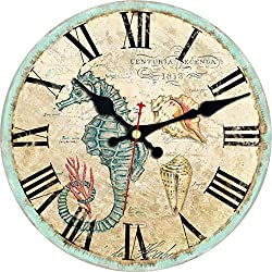 ShuaXin 12 Inch Ocean Nautical Theme Sea Creatures Wood Decorative Wall Clocks,Rustic Country Battery Quartz Wall Clock for Office,Kitchen,Dining Room