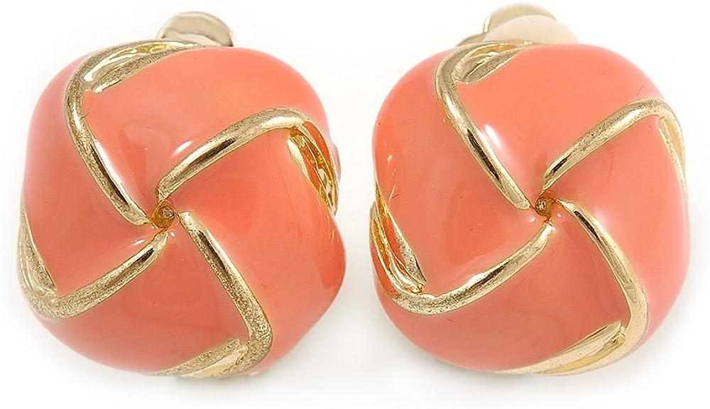 Salmon Pink Square Enamel Clip On Earrings In Gold Tone - 20mm