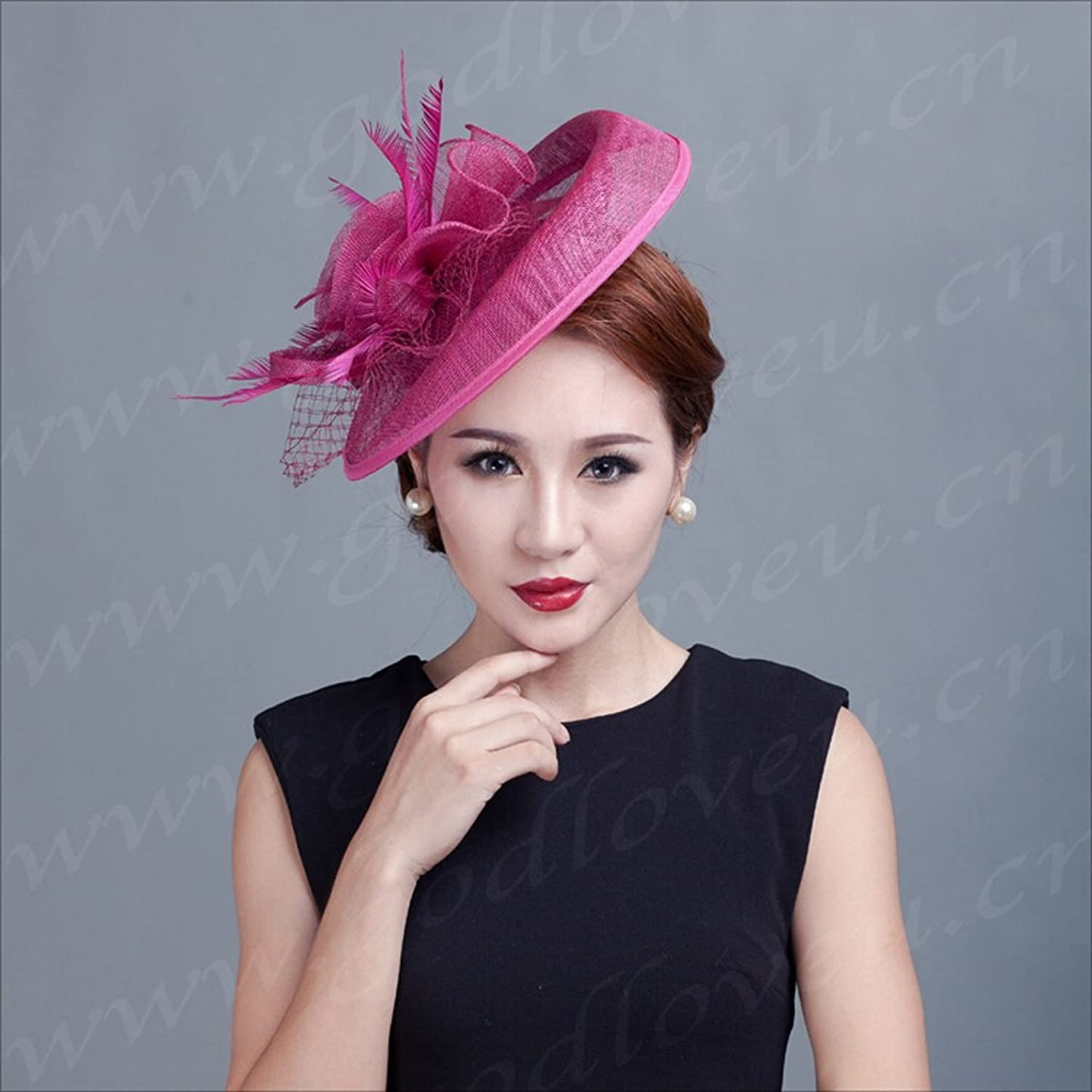 LYQZ European Women Headdress Fashion Party Bowler Hat Philippines Hemp Material Multicolor (color   Deep red)