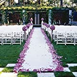 TRLYC 24Inch by 15FT Wedding Sequin Aisle Runner Marriage Ceremony White Bridal Carpet Ind...