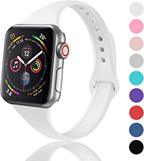 DYKEISS Sport Slim Silicone Band Compatible with Apple Watch 38mm 42mm 40mm 44mm, Thin Soft Narrow Replacement Strap Wristband Accessory for iWatch Series 1/2/3/4 (White, 42mm/44mm)