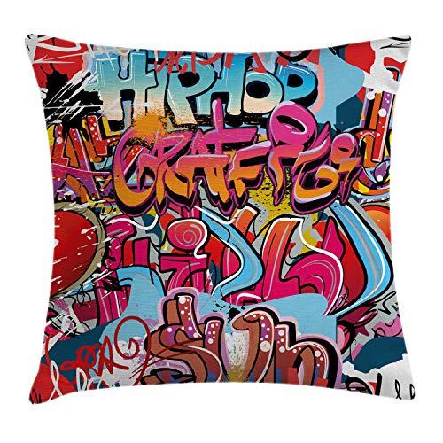 ABAKUHAUS Graphique Housse d'oreiller, Culture de Rue en Hip Hop Harlem Mur de New York Art Spray Image de l'Œuvre d'art, taies d'oreiller,avec Fermeture à glissière, Lavable, 40 x 40 cm, Multicolor