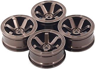HONG YI-HAT 4PCS 52 x 26mm Wheel Rims for RC Cars 1/10 Flat Running Drift Aluminum Alloy Wheels スペアパーツ (Color : Coffee)