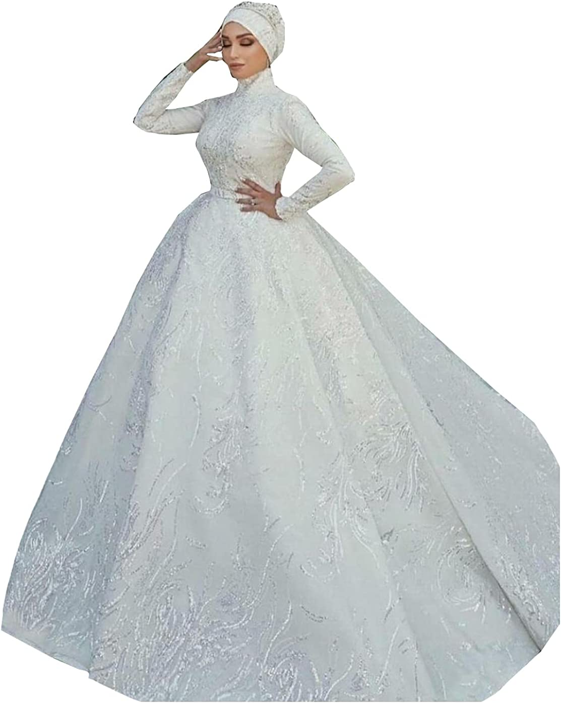 Women's Muslim Arabic Sequins Bridal Ball Gown with Train Long Sleeve Lace Wedding Dresses for Bride Plus Size