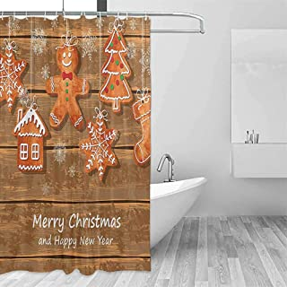 QIAOQIAOLO Flower Shower Curtain Gingerbread Man Funny Watercolor Cookies on Wooden Boards Delicious Xmas Pastry Travel Shower Curtain W55 xL72 Brown Orange White
