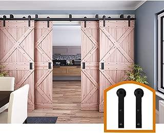 ZEKOO 11 FT 4 Doors Bypass Sliding Barn Door Hardware Low Ceiling