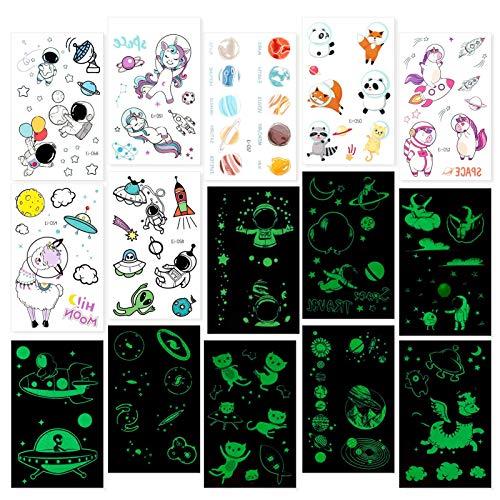 Phoetya Temporäre Tätowierung für Kinder, 15 Blatt leuchtende Tätowierungsaufkleber im Dunkeln leuchten Weltraum-themenorientierte Tätowierungsaufkleber-Abziehbilder für Raum-Party-Dekorationen