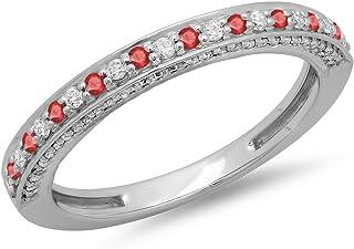 Dazzlingrock 系列 10K 黄金圆形切割红宝石与白钻女士周年纪念结婚戒指可叠叠加戒指