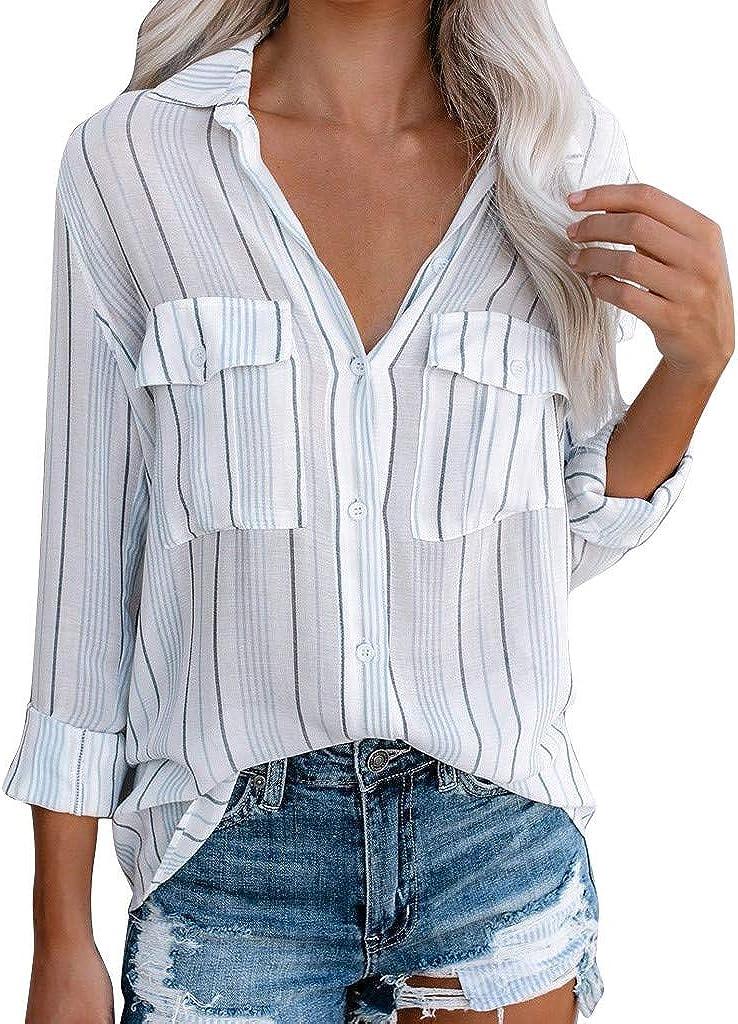 COZOCO Camisa Casual De Mujer Enrollada Camisa A ...