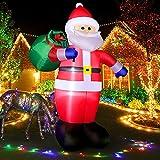 240 cm Papá Noel Hinchable con Luces LED, 8 Pies Santa Claus Inflable IP44 a Prueba de Agua, Iluminación LED con Ventilador Decoración Navidad para Jardín, Césped, Casa