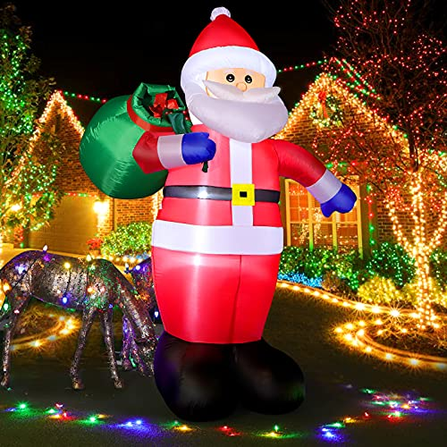 240cm Aufblasbar Weihnachtsmann mit LED Licht, 8 Feet Aufblasbar Weihnachtsdeko IP44 Wetterfest, Christmas Santa Riesen Figur mit Geschenktüte, Innen Außen Beleuchtung Dekoration für Garten Rasen Hof