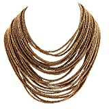 Zephyrr Multi strand Beaded Handmade Necklace Tribal Boho for Girls and Women infinity necklace gold May, 2021