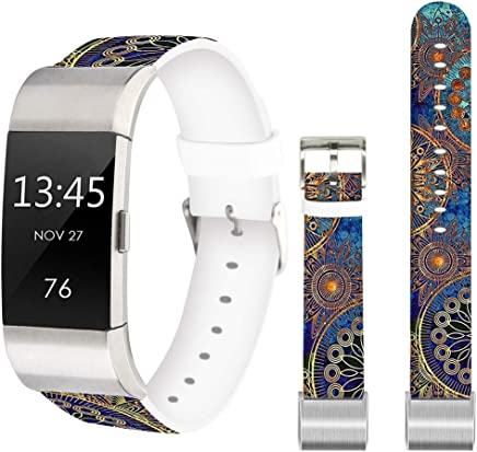 Flower Bands for Fitbit Charge 3,Jolook Replacement Leather Woman Man Bands Straps for Fitbit Charge 3/Charge 3 SE - Gold Flower