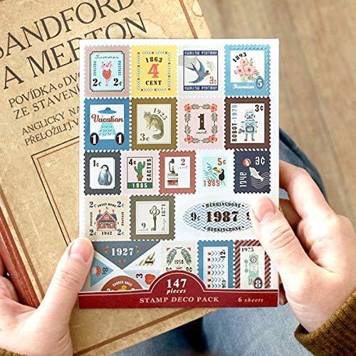 BLOUR 6 Stück/Lot Aviation Traveller Notebook Stempel Tierblumenaufkleber Vintage Rindsleder Reisetagebuch Album Schreibwarenaufkleber