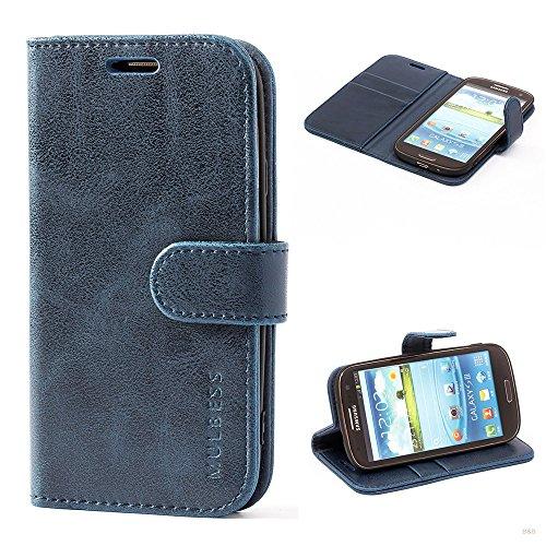 Mulbess Handyhülle für Samsung Galaxy S3 Hülle Leder, Samsung Galaxy S3 Handy Hüllen, Vintage Flip Handytasche Schutzhülle für Samsung Galaxy S3 / S3 Neo Case, Navy Blau