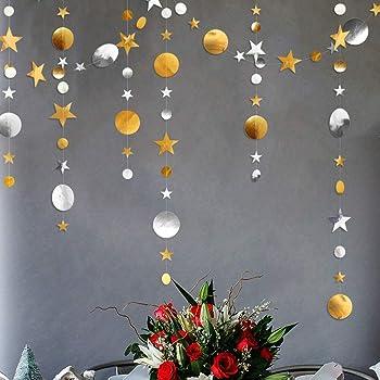 3本 ペーパーガーランド 丸形 星形 飾り 写真小物 金・銀色 キラキラ パーティー イベント 店舗 装飾