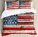 Rustic USA Flag Duvet Cover Set