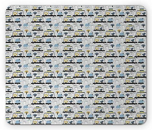 Doodle Mouse Pad, Kwekerij Bos Dieren Leeuw Hippo Olifant in de Auto Reizen, Standaard Grootte Rechthoek Antislip Rubber Mousepad, Bleke Grijs Mosterd Leisteen Blauw