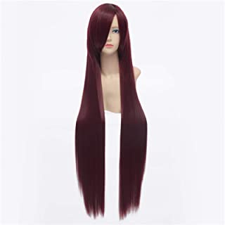 Hairpieces 100 cm Long Cosplay Wig Pink Green Gray Linen Blue Purple Brown Straight Synthetic Wig Heat-resistant Rose Net ...