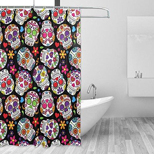 coosun Day Of The Dead Sugar Skull Duschvorhang Set Polyester Stoff Wasserabweisend Badezimmer Showe Vorhang Set...