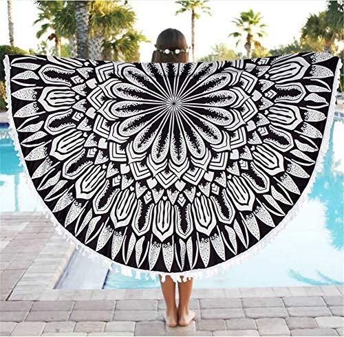 Hava Kolari Toalla de playa con borla, redonda, diseño indio mandala para yoga, bufanda, playa, tiempo libre, picnic (A) ✅