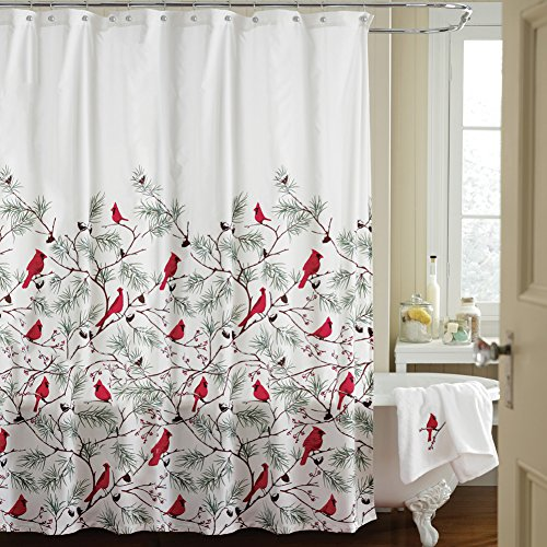 Collections Etc Cardinal Holiday Shower Curtain