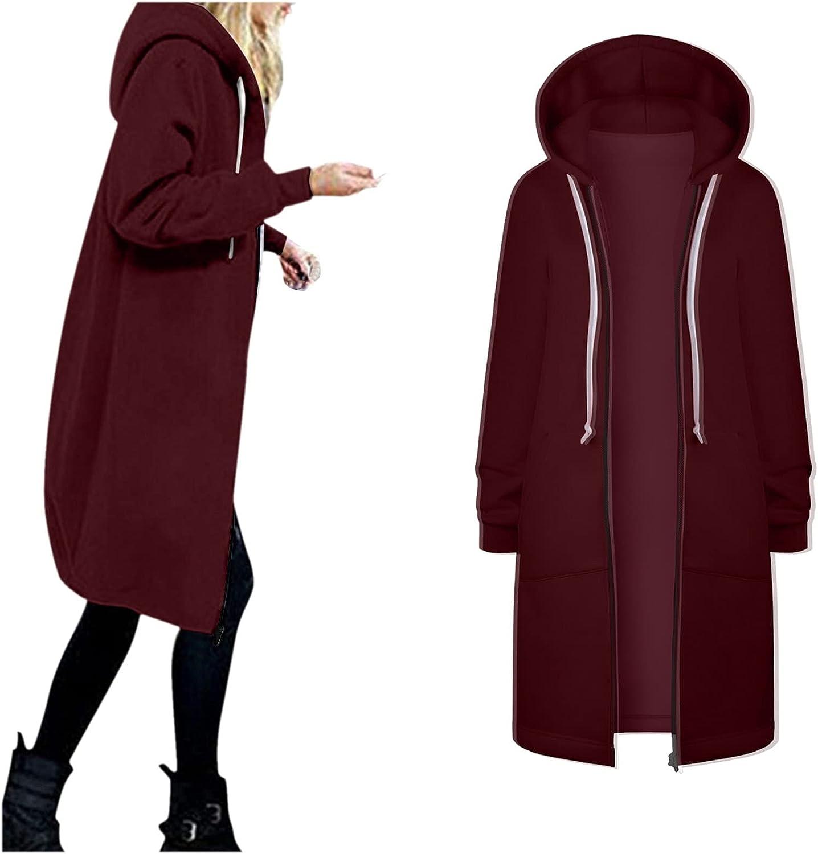 Women Solid Jacket Coats Thicken Hoodie Long Trench Waterproof O